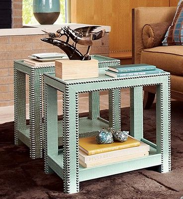 studded ikea end tables. brilliant