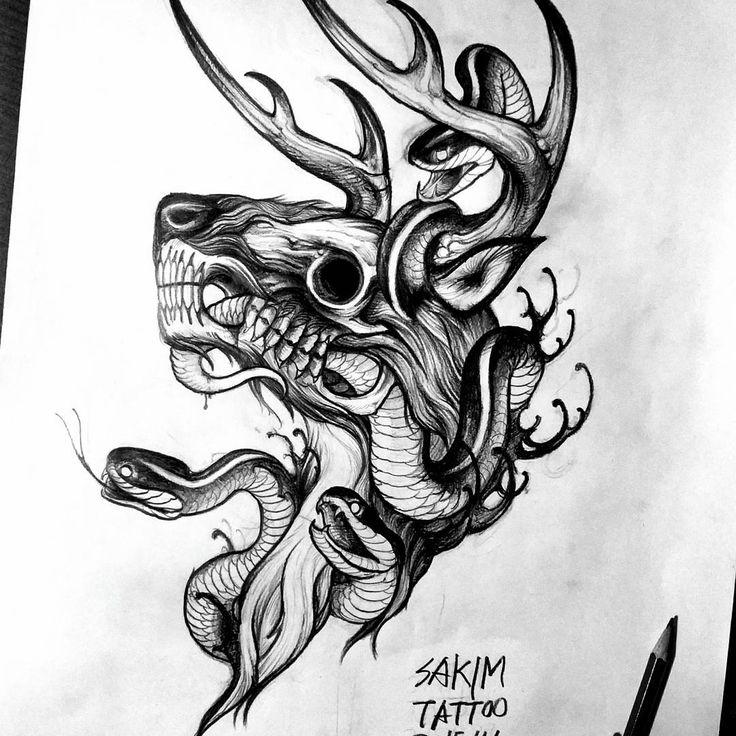 26 Deer Tattoos: Deerskull . . 카카오톡: Burke4 . . #blackwork