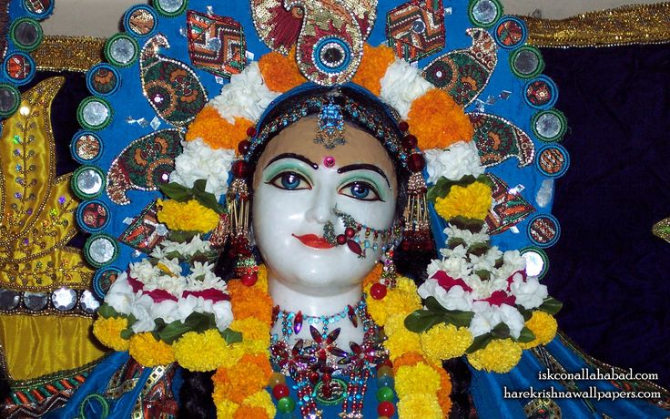 To view Sri Radha wallpapers of ISKCON Allahabad in difference sizes visit - http://harekrishnawallpapers.com/sri-radha-close-up-iskcon-allahabad-wallpaper-002/