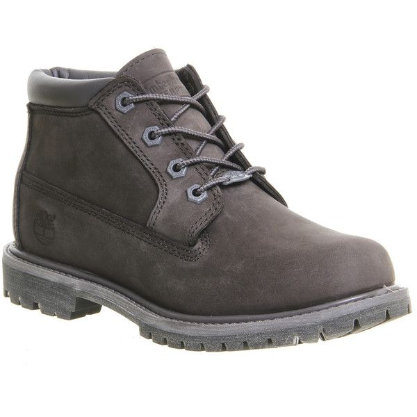Timberland Nellie Chukka Double Waterproof Boots ($175) ❤ liked on Polyvore featuring shoes, boots, ankle booties, ankle boots, dark grey nubuck, women, waterproof ankle boots, lace-up bootie, waterproof booties and laced booties