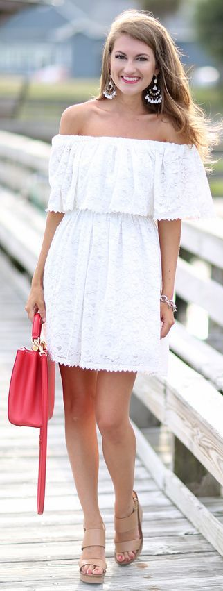 White Lace Off The Shoulder Dress by Southern Curls and pearls
