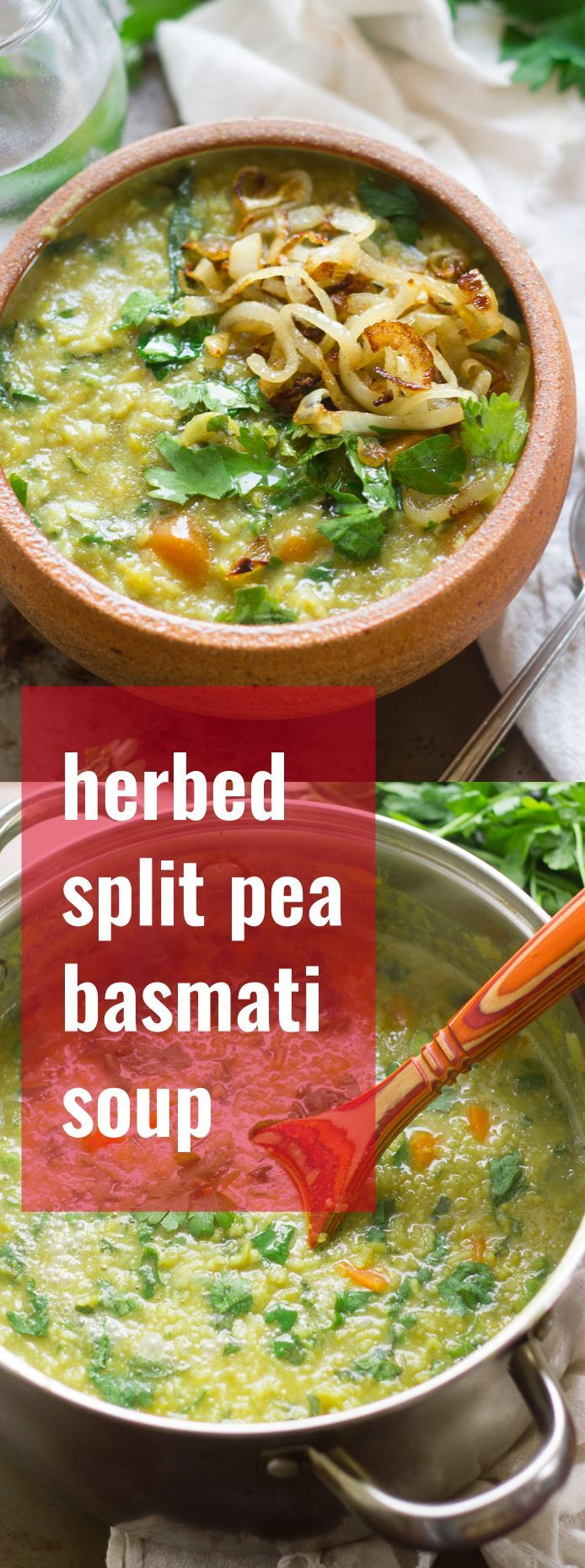 Hearty split peas and fragrant basmati rice are simmered up with fresh herbs and caramelized onions to create this cozy and flavorful Persian-inspired split pea soup.