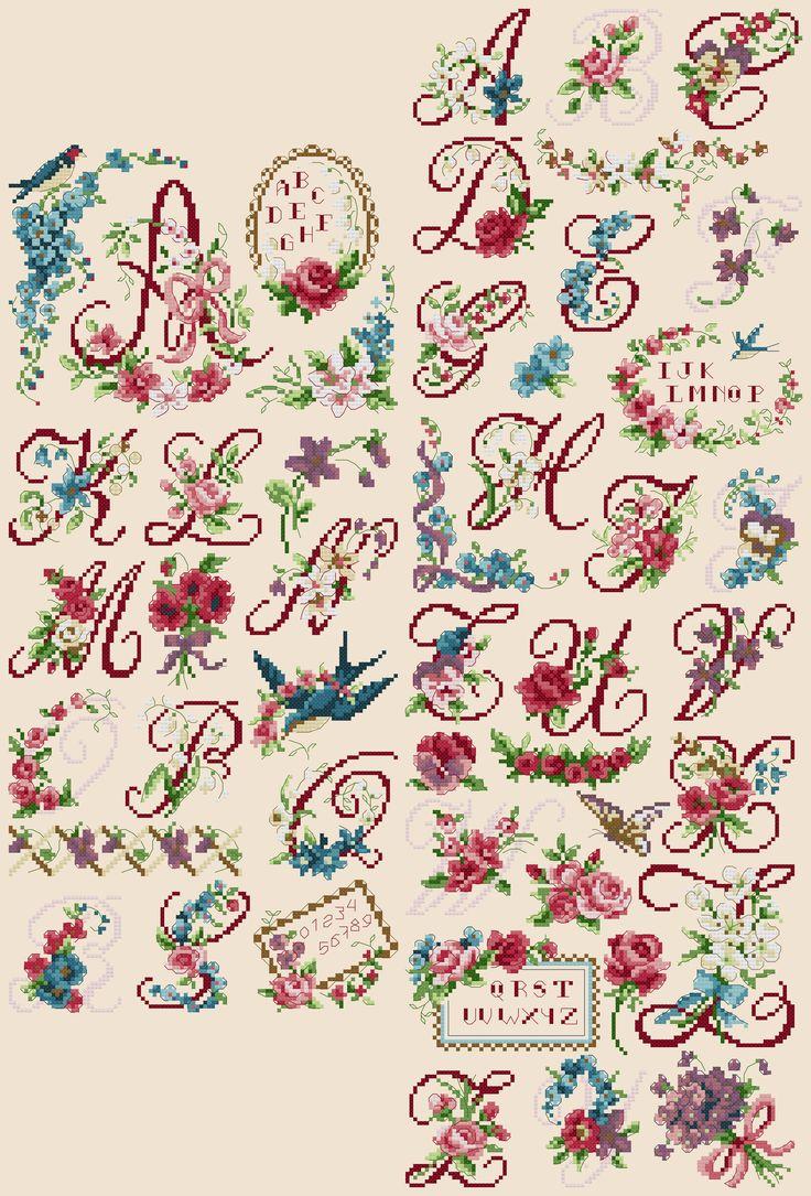 Cross stitch / Point de croix / Punto de cruz / Punto croce - alphabet / abécédaire / abecedario / alfabeto - 'Chromo'
