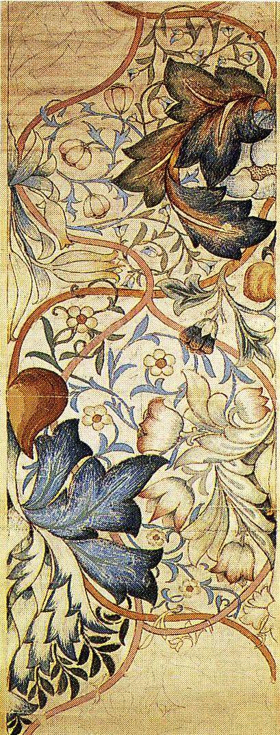 Artichoke wallpaper design by William Morris, produced by Morris & Co, 1875