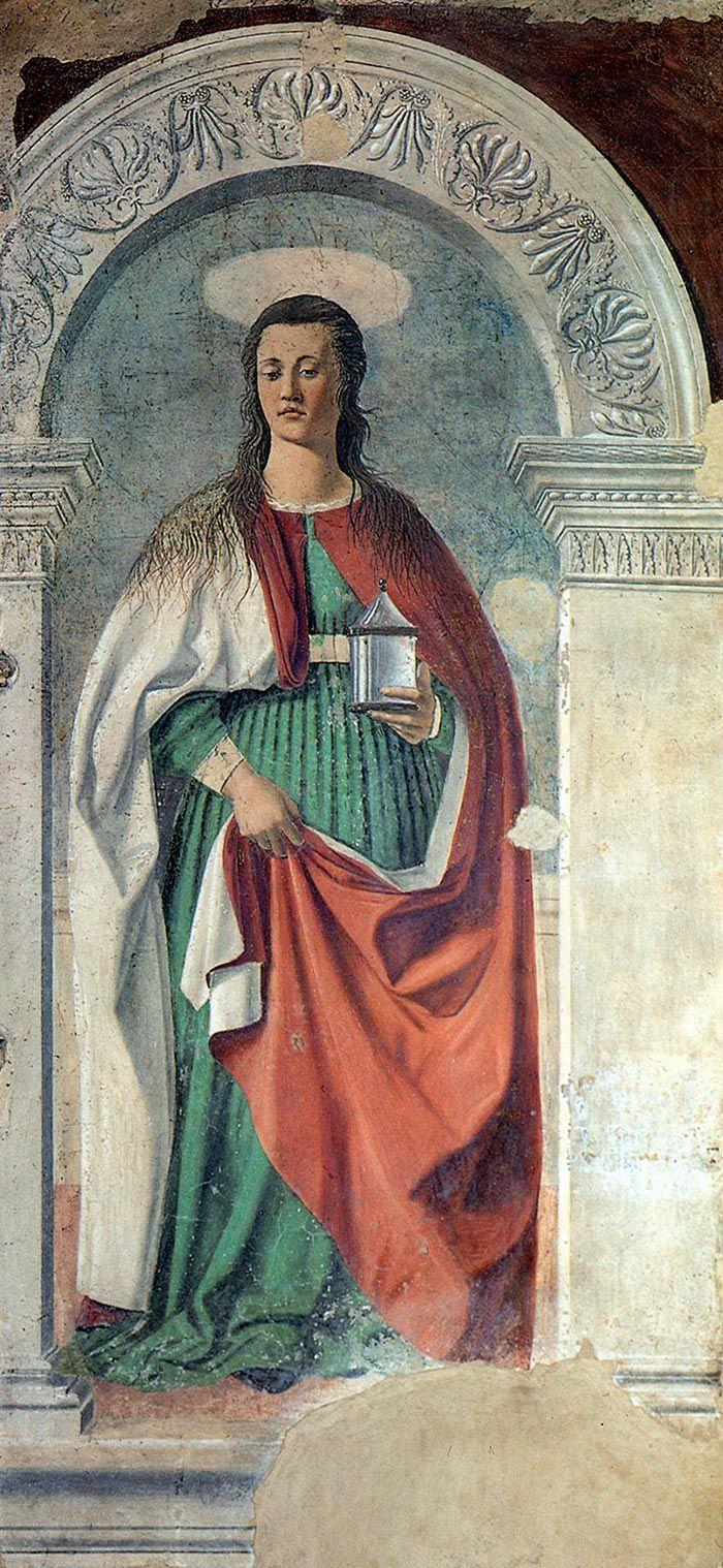 Piero della Francesca, Santa Maria Maddalena, fresco, 190 cm × 105 cm, Cattedrale di San Donato, Arezzo