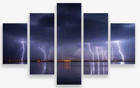 Canvas Wall Art 5 Panel Framed Multi Print- Lighting Strikes