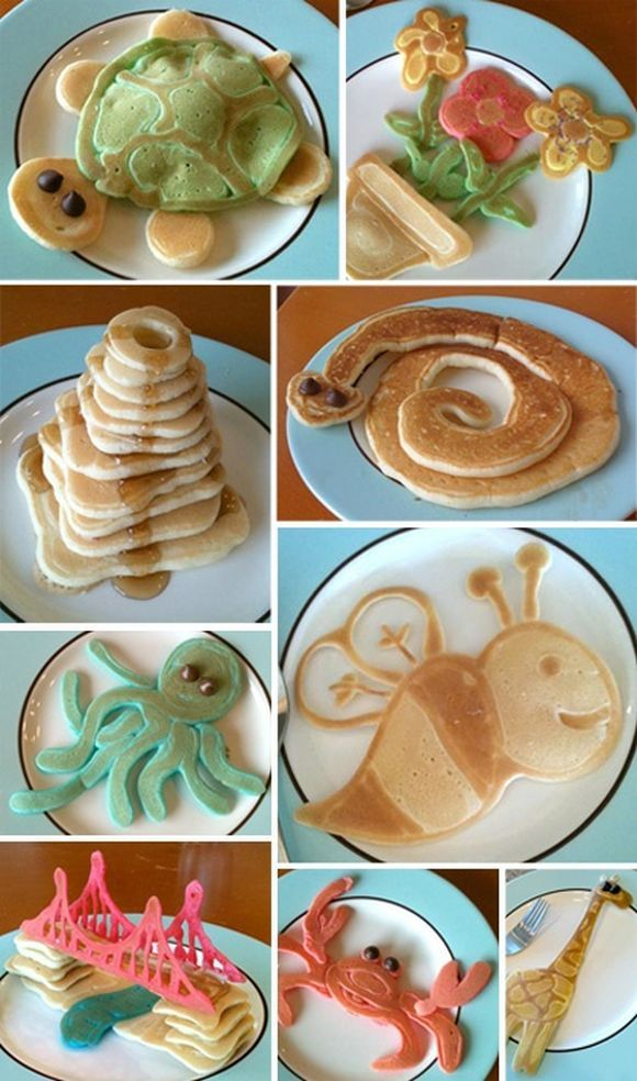Fun Shape Pancakes - Idea: Pour batter in squeeze bottle (like an old, clean ketchup container); draw designs directly on hot griddle.