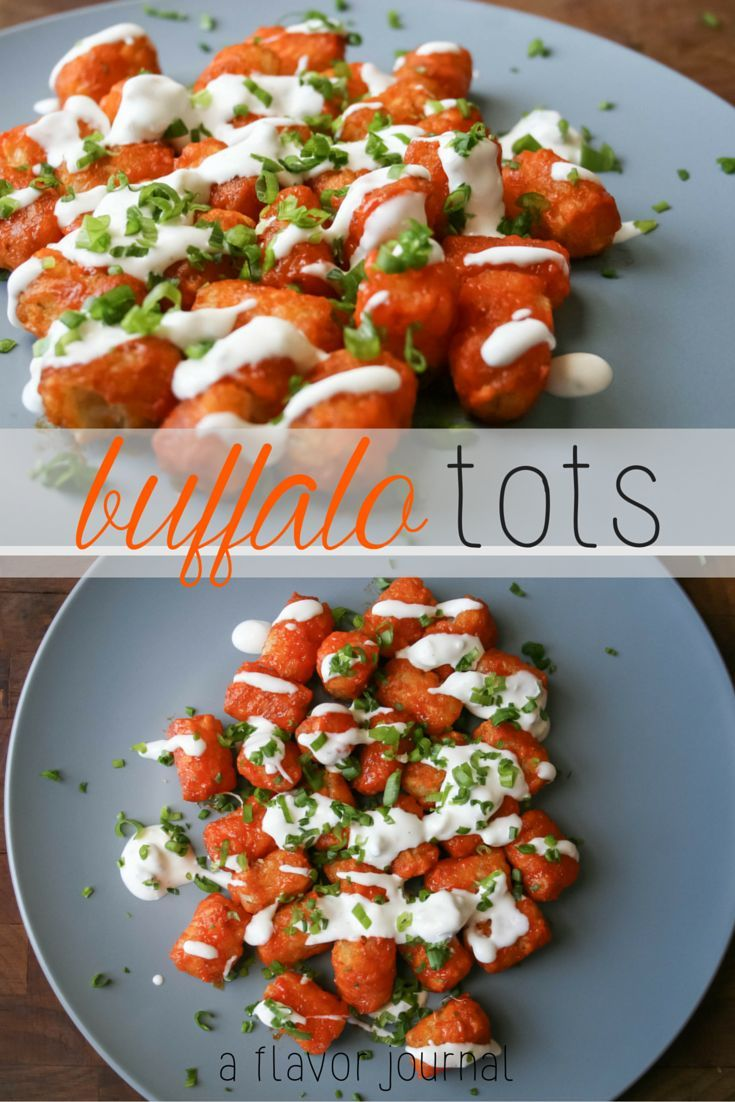 crunchy tots tossed in spicy buffalo sauce!  does it get any better?  they're topped with ranch or blue cheese, green onion, and bacon! (optional).  one of my FAVORITES!  buffalo tots. http://aflavorjournal.com/buffalo-tots/