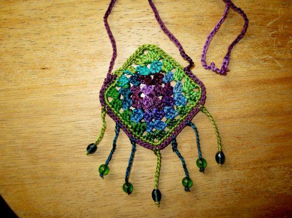 fuNky granny square crochet necklace