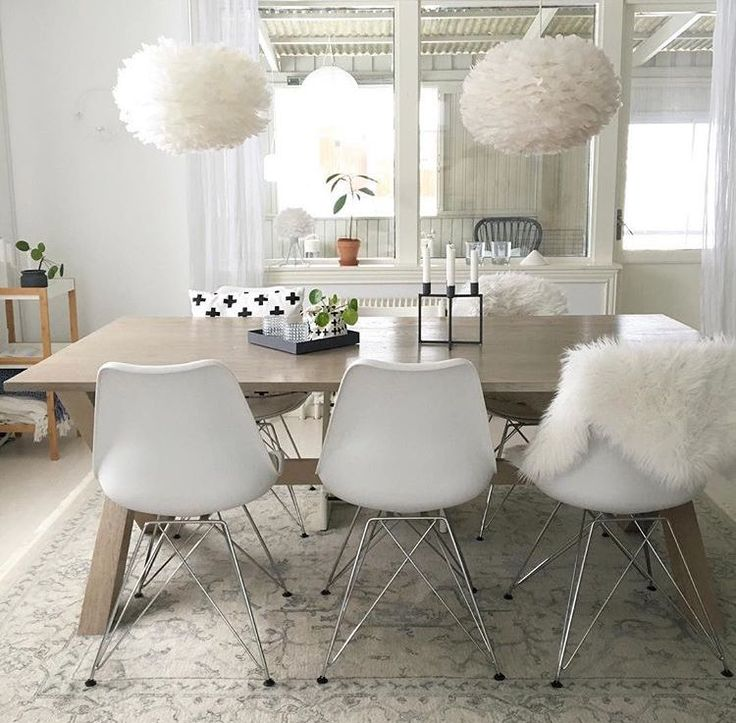 A stylish dining room of textures and shapes from @nordicsimplicity framed by two Eos lampshades.