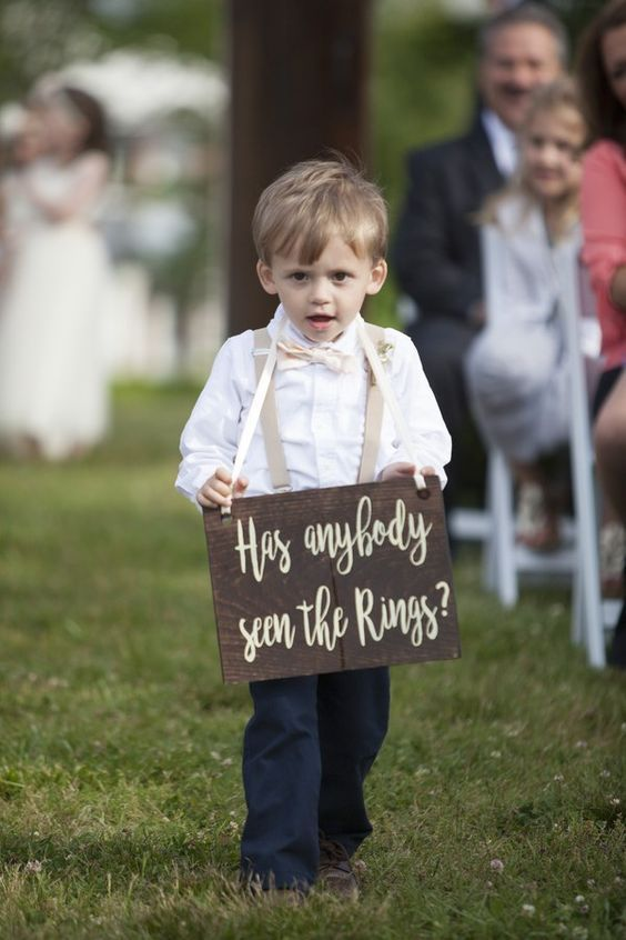 20 Wedding Signs Your Guests Will Love  www.weddingplanner.co.uk  page boy sign, wedding signs, wedding DIY, wedding planner