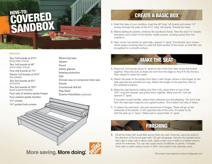 Downloadable plans for a Covered Sandbox DIY Project from The Home Depot.