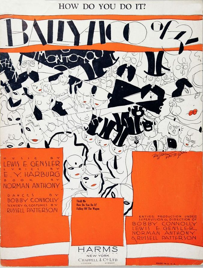 Russell Patterson, cover of Ballyhoo of 32, sheet music for a Harburg/Gensler revue, 1932. Via Hesse