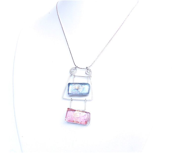 NEW NEW!! Artisan necklace with glass and silver,pink and blue glass necklace,artisan jewelry,tiffany necklace,artisan glass necklace,fusedglass,art by Dartisanglass on Etsy