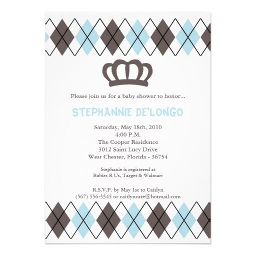 15 best Crown Baby Shower Invitations images on Pinterest Shower