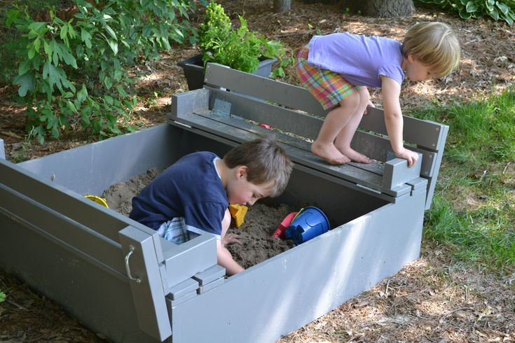 Plans for sandbox with seats that flip to lid