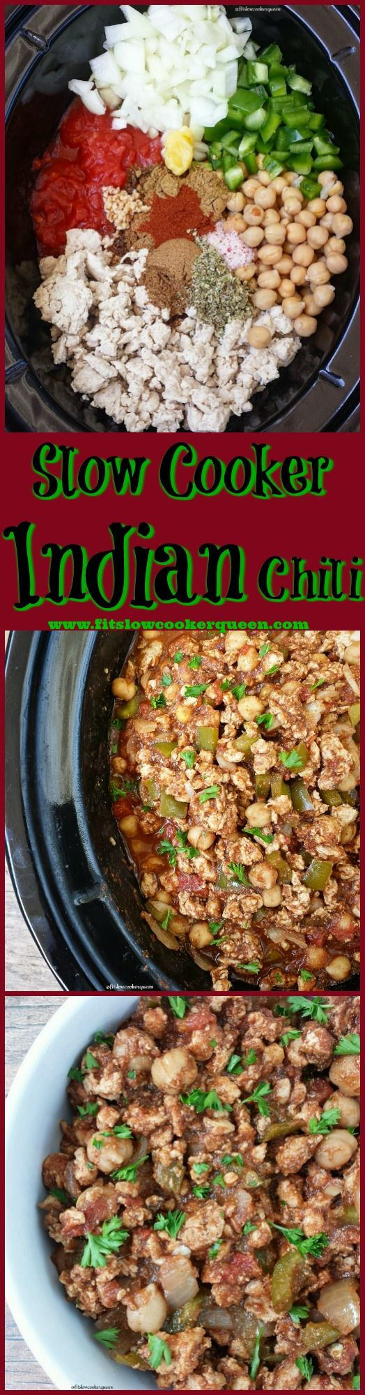 Slow Cooker / Crockpot - This Indian chili recipe uses traditional Indian spices and ingredients for a unique and twist on a traditional slow cooker classic.