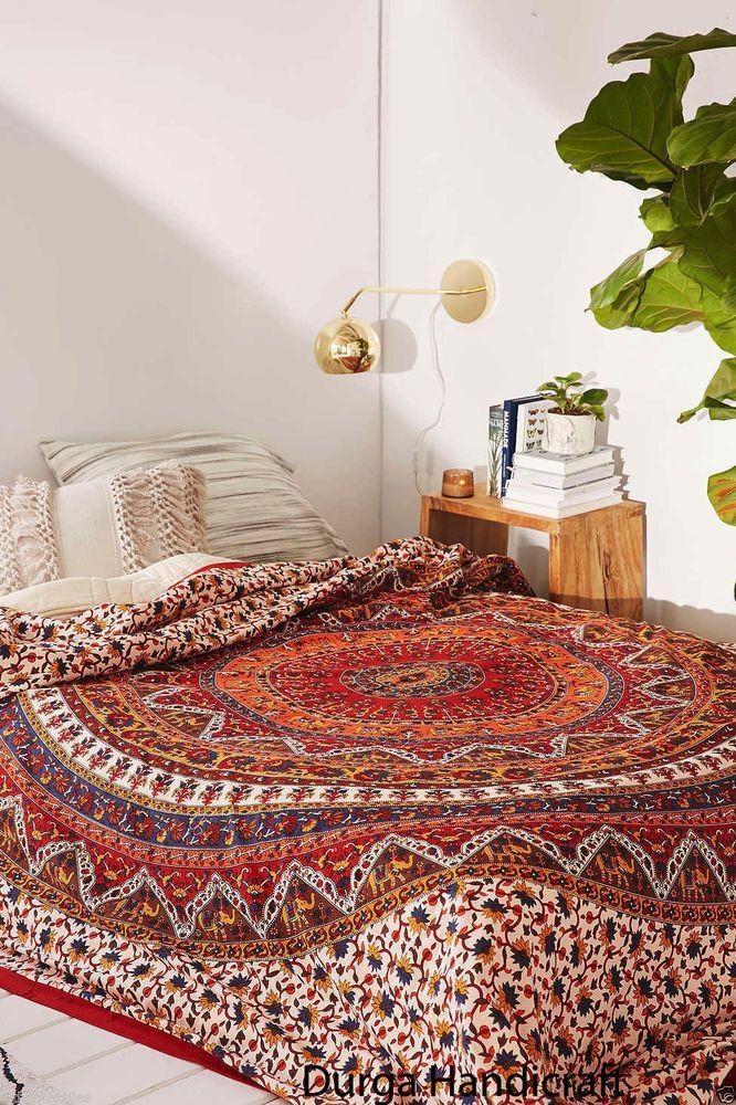 Indian Elephant Mandala Cotton Hippie Bohemian Reversible Double Duvet Cover Set #Handmade #Traditional #DoonaCoverDuvetCoverQuiltCover
