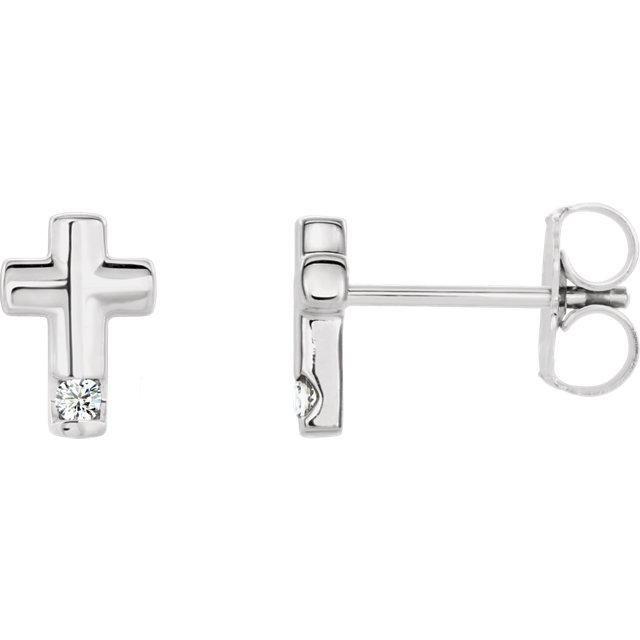 .03 CTW Diamond Cross Earrings - Platinum
