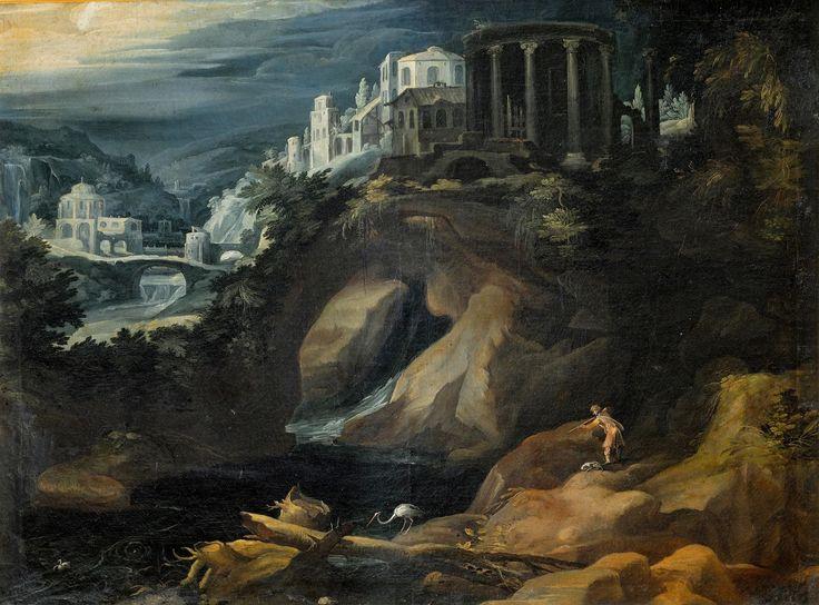Landschap met sibillentempel ~ 1595 ~ Olieverf op koper ~ 11 x 17 cm. ~ Galleria Borghese, Rome