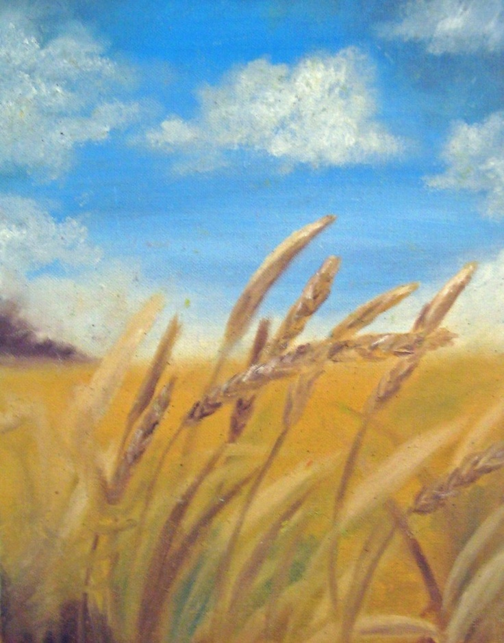Wheat Field Painting Print - 8x10 Fine Art Giclee Print - Grain Country Gold. $25.00, via Etsy.