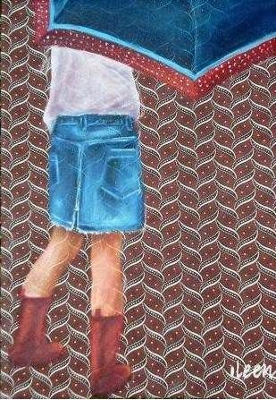 oil on shwe shwe - girl with boots and umbrella