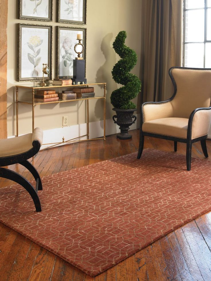 This Lovely Area Rug Is Made From Over Dyed Cinnamon Red Wool And Viscose  Blend,