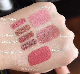 MAC Creme Cup Modesty Fanfare Cremesheen Lipstick Swatches