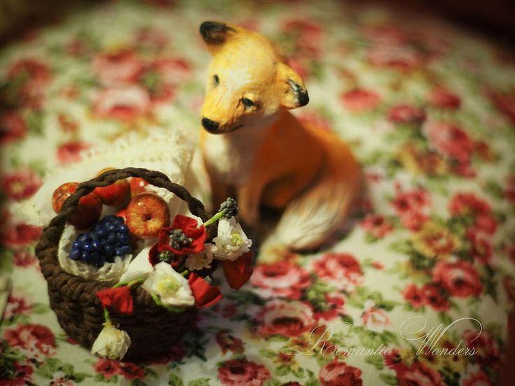 Little Gardener and Fox Handmade air-dry clay doll, OOAK by Romantic Wonders