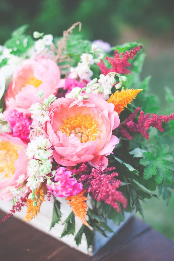 sweet floral arrangement // photo by One Summer Day, flowers by Petals & Hedges // view more: http://ruffledblog.com/southern-peach-inspired-shoot