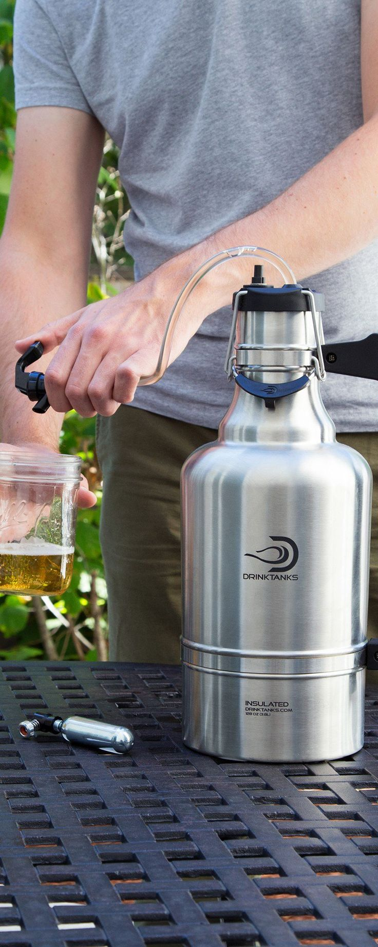 These black and silver personal growlers discovered by The Grommet, preserve carbonation and premium craft brew taste far longer than any screw cap.