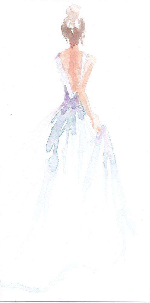 Limited edition 8.5 x 11 print of original watercolor fashion illustration by Carol Hannah.