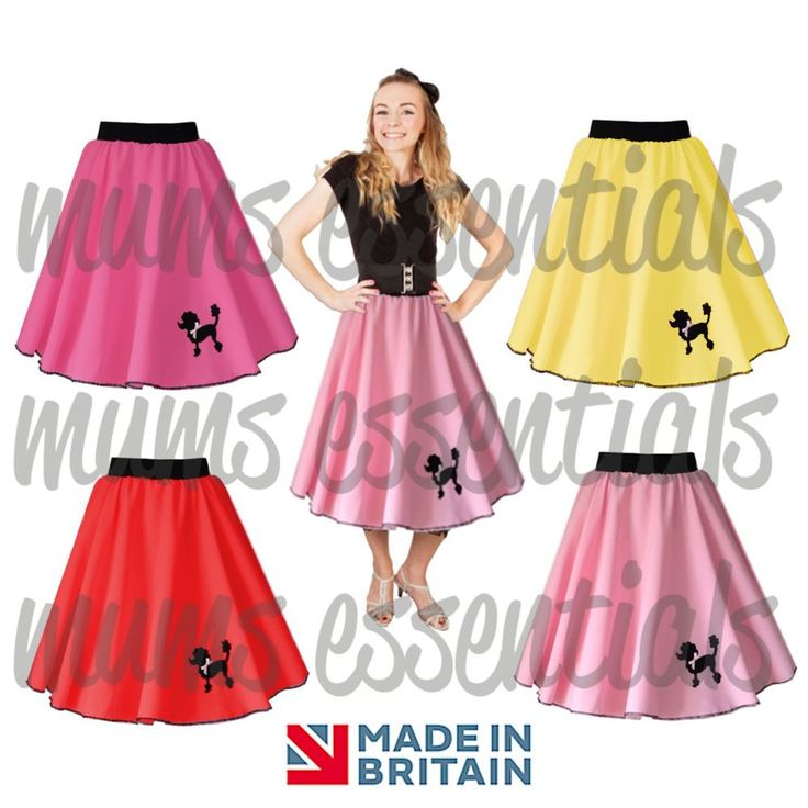 Girls Kids 50s Polyester POODLE SKIRT, Swing Rock and Roll, Dance, Fancy Dress #MumsEssentials #Skirt