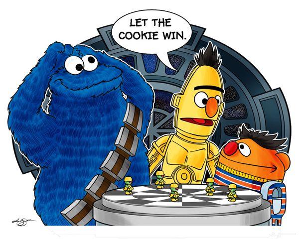 Let the #Cookie win.: Nerd, Sesame Street, War Awesome, Cookies Monsters, Sesamestreet, Stars War, Funny Stuff, Cookies Win, Starwars