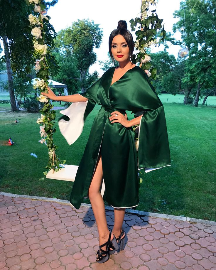 Albertina Ionescu @Silk Essentials Garden Party ^1 Kimono Blue&Green Reversible Double Face Dress