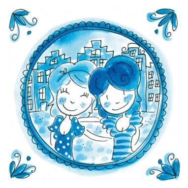 Delftsblauwe kaart met twee vriendinnen