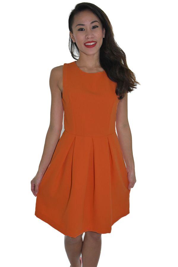 PSL Pleated Pouf Dress in Tangerine