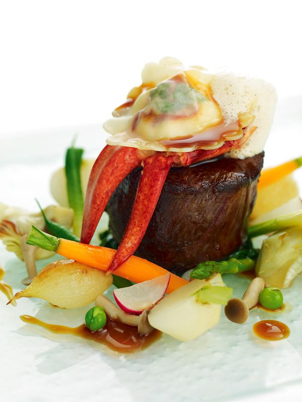Jersey beef fillet with St Ouen's bay lobster ravioli and summer vegetables recipe by professional chef Mark Jordan