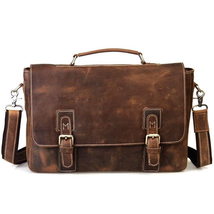 """Image of Vintage Handmade Crazy Horse Leather Briefcase Messenger 13"""" 14"""" Laptop 13"""" 15"""" MacBook Bag(z08)"""