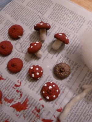 The Enchanted Tree: Acorn Cap Toadstool Ornaments with white wool roving stems.