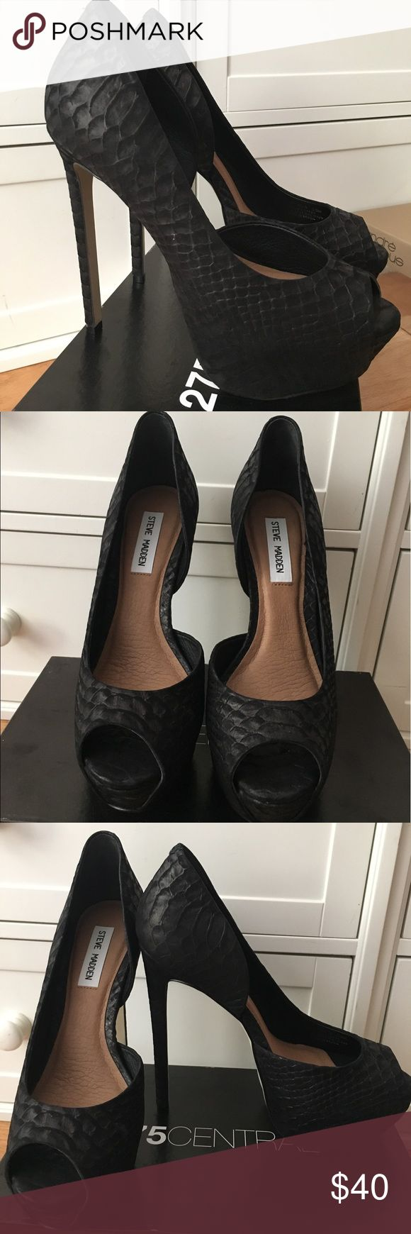 BRAND NEW Steve Madden Black Heels Never been worn new black heels from Steve Madden. A high heel that makes your legs look amazing while giving you lots of height. 4 1/2 inch heel. Small toe opening. Great for summer or winter parties or nights out Steve Madden Shoes Heels