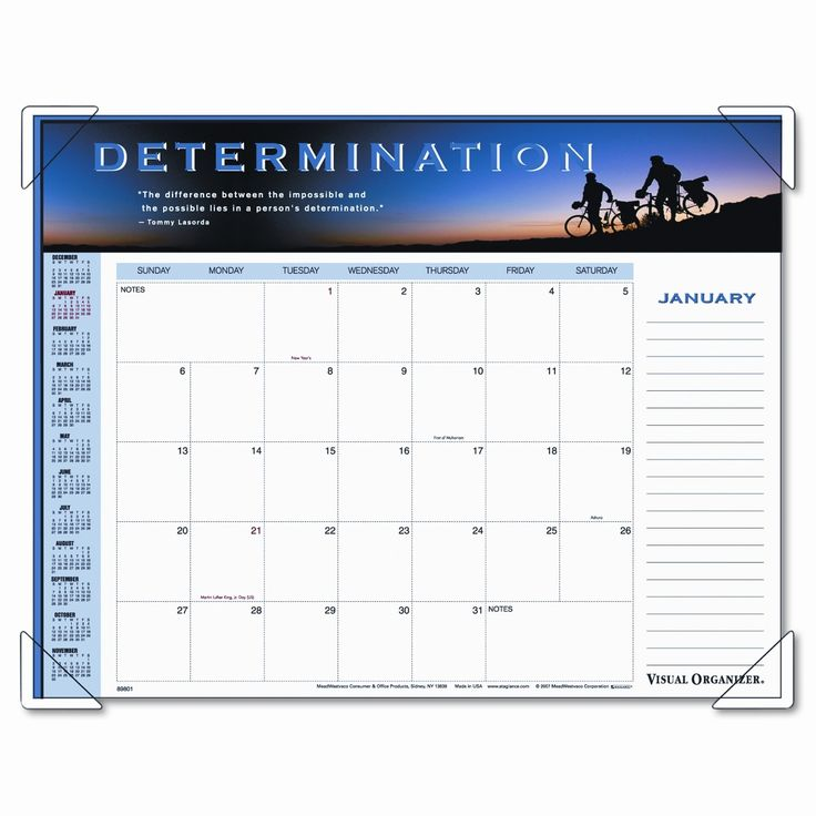 Panoramic Motivational Monthly Desk Pad Calendar, 22 x 17, 2012