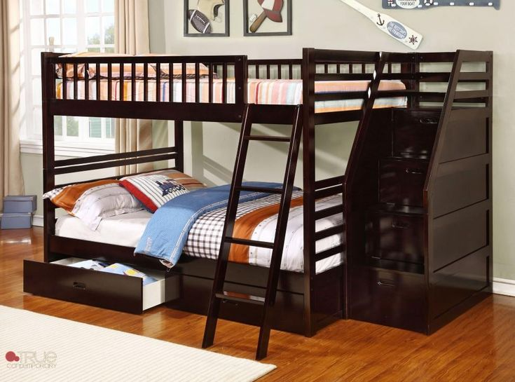 Fraser II Espresso Full Over Bunk Bed With Storage Drawers And Stairway Chest