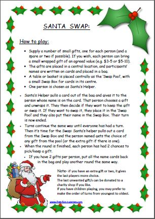 """This is a fun, inexpensive game that I adapted from """"Dirty Santa"""" ... we played this last Christmas and it was lots of fun. It's a gentle way of sharing gifts and making sure everyone gets something they actually want!  - Fun Stuff - Free Fun and Games"""