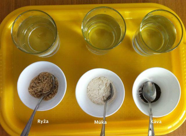 Deti mali k dispozícii 6 druhov potravín a mali zistiť, ktoré z nich sú rozpustné vo vode a ktoré nie.            Usilovne testovali      N...