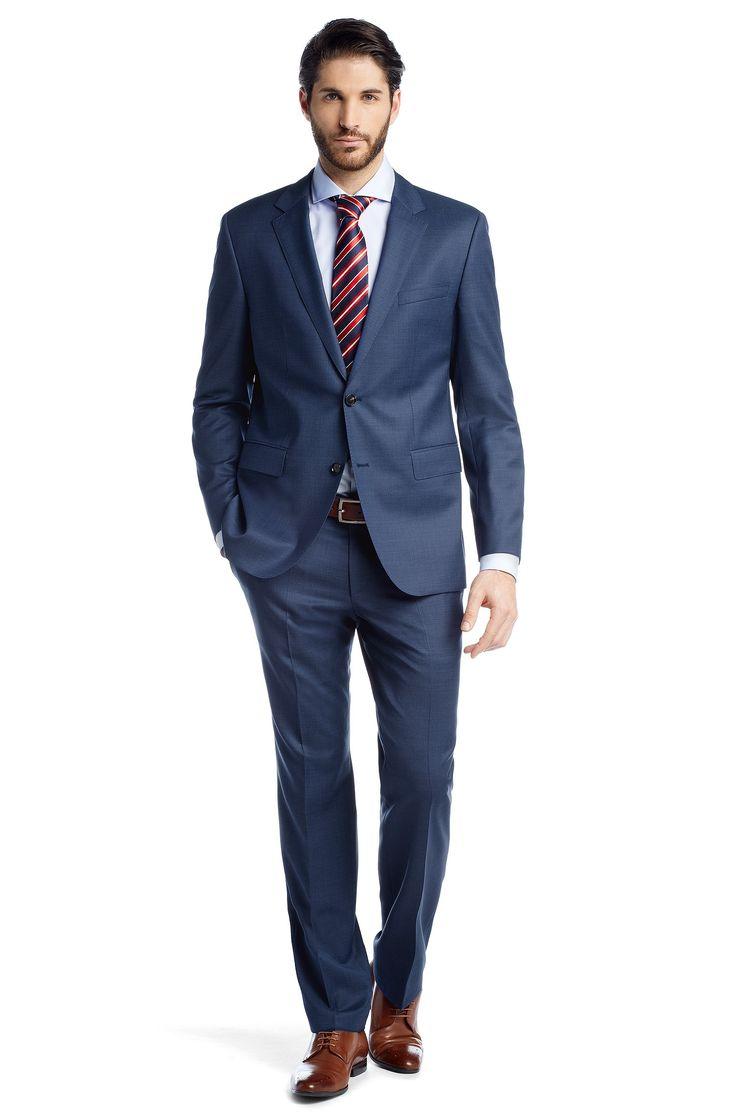 BOSS Costume coupe Regular Fit «The James4/Sharp6» en laine vierge Bleu vif
