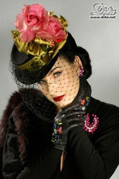 Black hat with bright colorful accents.