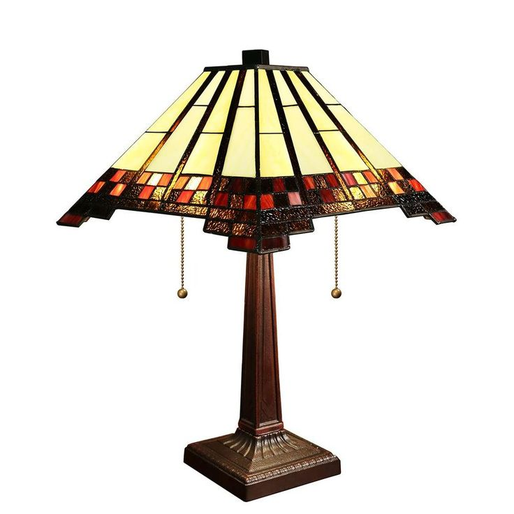 Warehouse of Tiffany Sierra 25 in. Multicolored Indoor Mission Tiffany-Style Table Lamp with Pull Chain