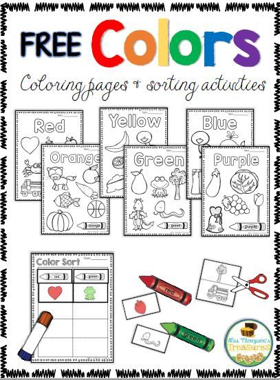 Free Coloring & Sorting Colors Activities   These coloring pages and sorting activities are fun for preschoolers to begin distinguishing between different colors.Click HERE to get the download on my blog! colors Mrs. Thompson's Treasures PreK preschool sorting
