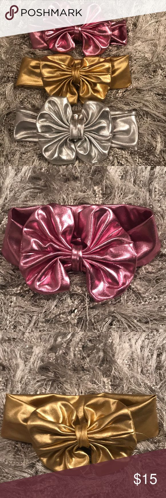 Baby Girl Headband Bow Bundle Set of 3 baby Girl Headband bows! Light pink, gold and silver Accessories Hair Accessories